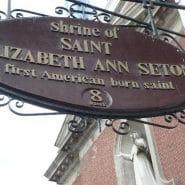 The sign of the Shrine of Saint Elizabeth Ann Seton on 7 State Street, NYC