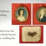 Elizabeth and William porcelain wedding Miniatures + Family broach wore by Elizabeth on her wedding day