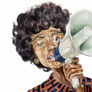 illustration of Shirley Chisholm with her famous megaphone during her campaign