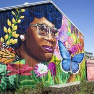 Mural of Shirley Chisholm in the new Park in Brooklyn dedicated to her